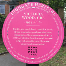 Victoria Wood pink plaque
